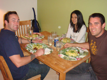 Brett, Heather & Rick enjoying a curry dinner!