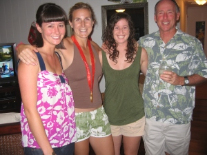 Me, Erin Cafaro, my sister Sarah, and dad Rick