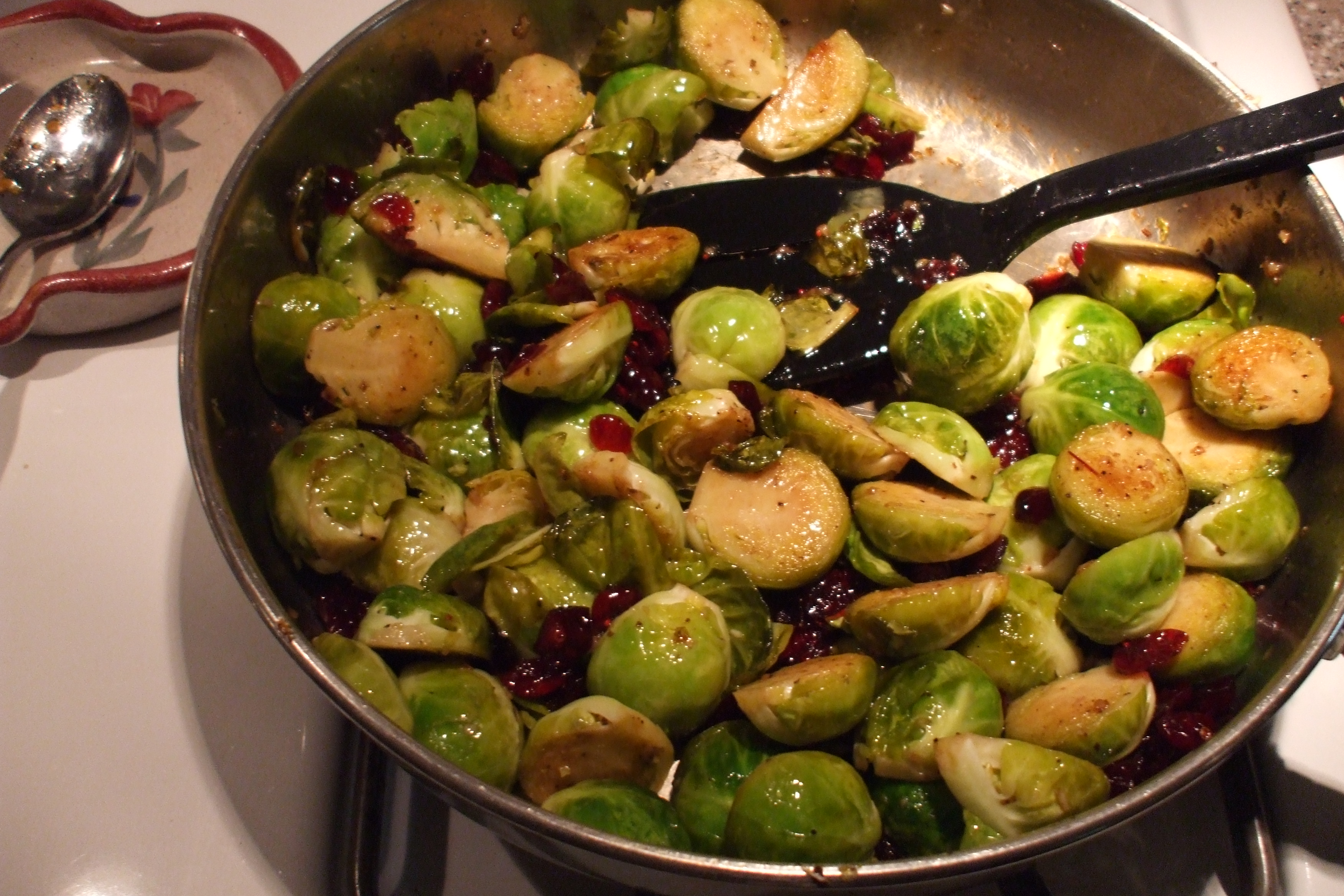 Sauteed Brussel Sprouts with Balsamic Vinaigrette, Craisins, and ...